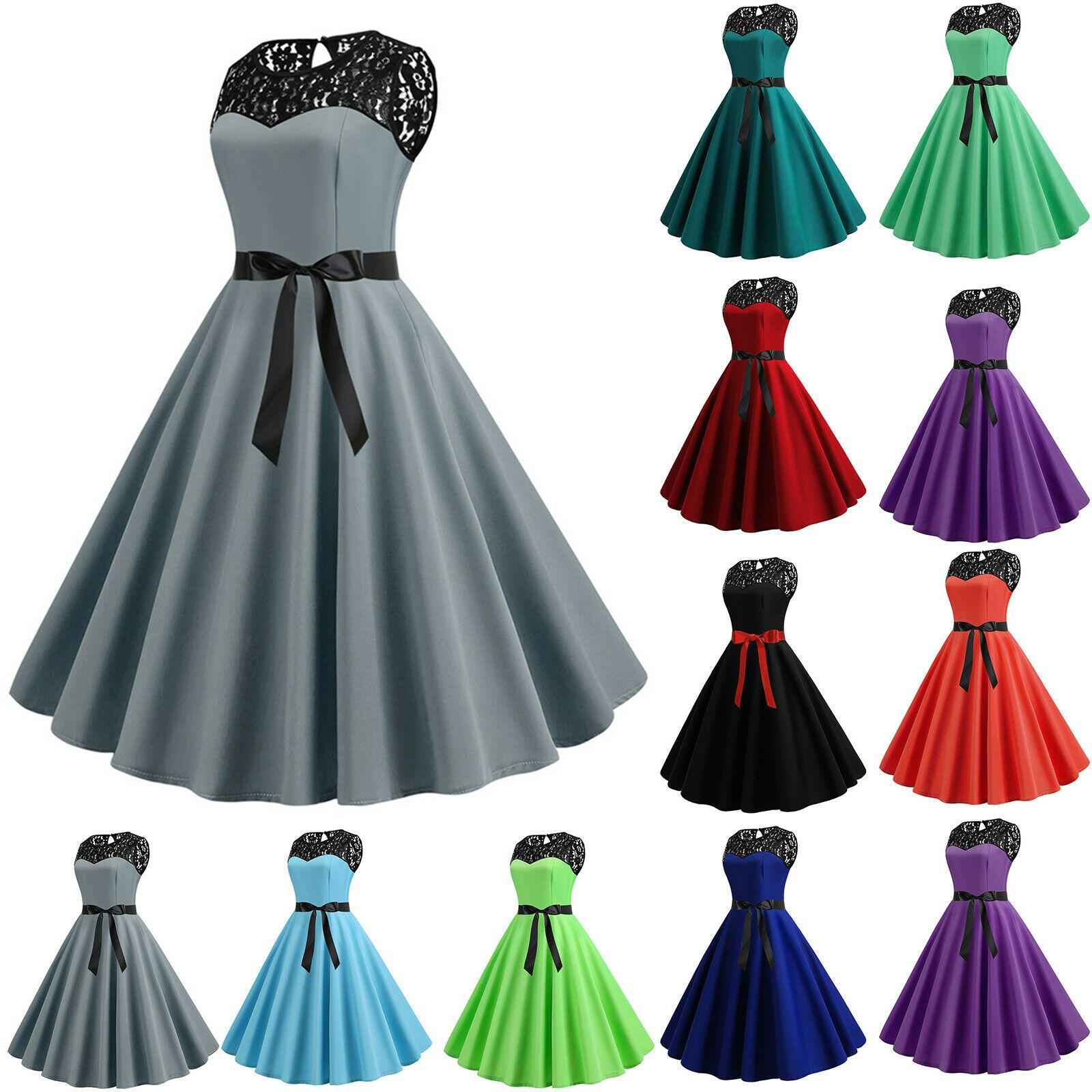 Damen Spitze Abendkleid Partykleid Hochzeit Ballkleid Rockabilly