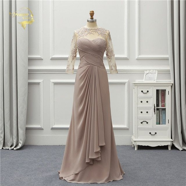 512044efd8e Jeanne Love Formal Luxury Long Evening Dress 2019 New Arrival Three Quarter  Lace Robe De Soiree