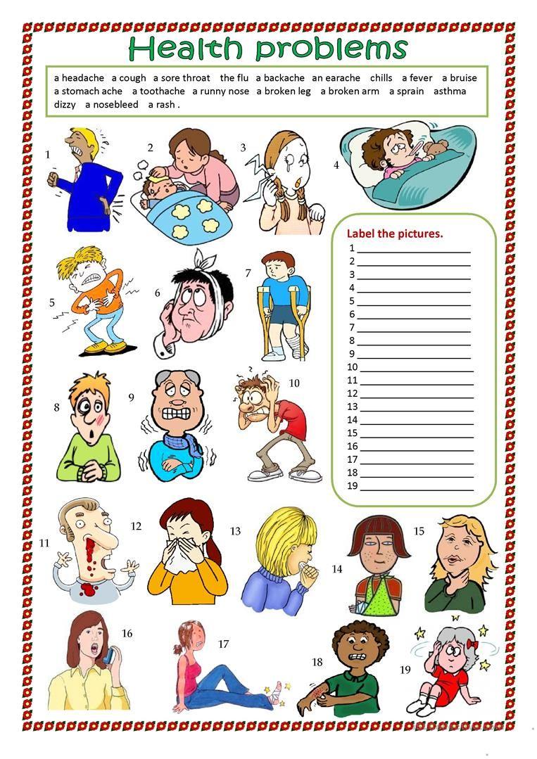 Health problems worksheet Free ESL printable worksheets