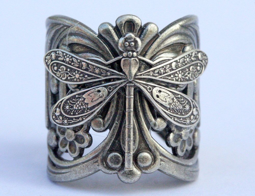 Steampunk Wedding Gifts: Steampunk Filigree Dragonfly Ring Adjustable Silver Ox