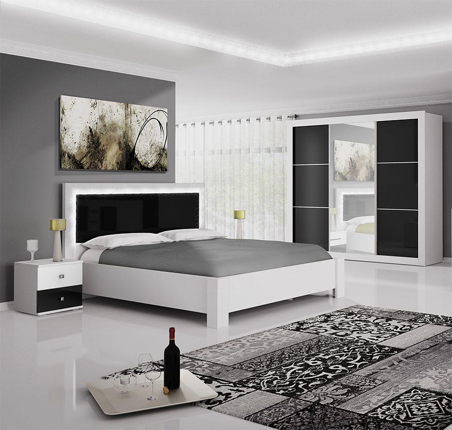 Chambre adulte compl te design laqu e noire et blanche florencia chambre coucher pinterest - Mobilier chambre adulte complete design ...