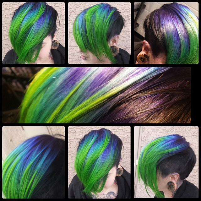 Short Blue To Neon Green Ombre Hair Colors Ideas In 2020 Neon Hair Color Neon Hair Bright Hair Colors