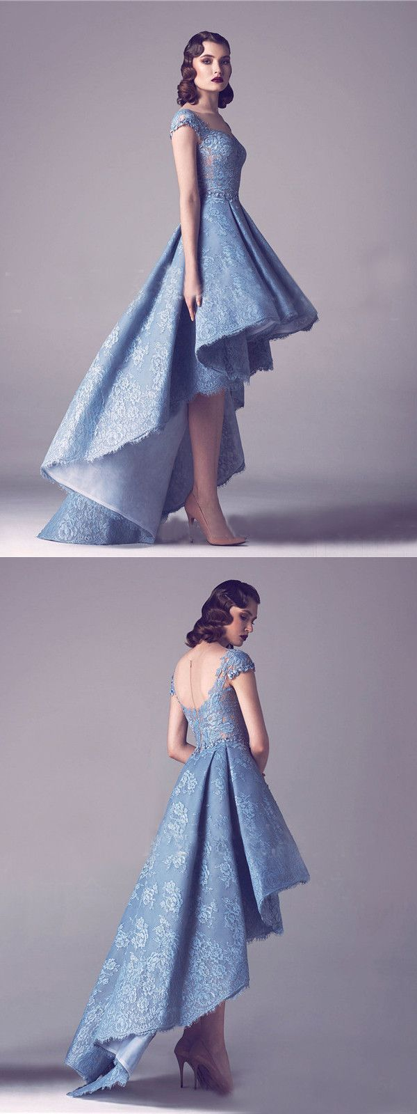 Aline scoop blue asymmetrical homecoming dress lace short prom