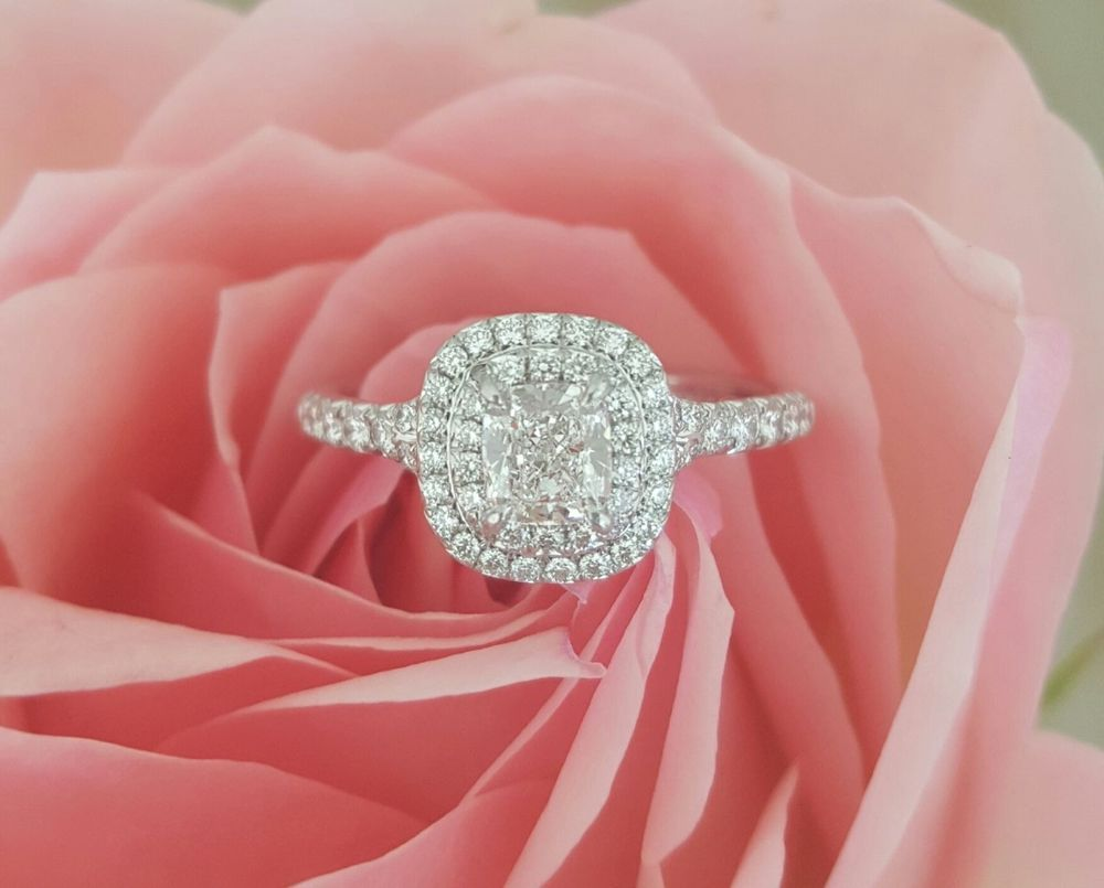 Certified 3CT Cushion-Cut Delicated Diamond Halo Engagement Ring 14K ...