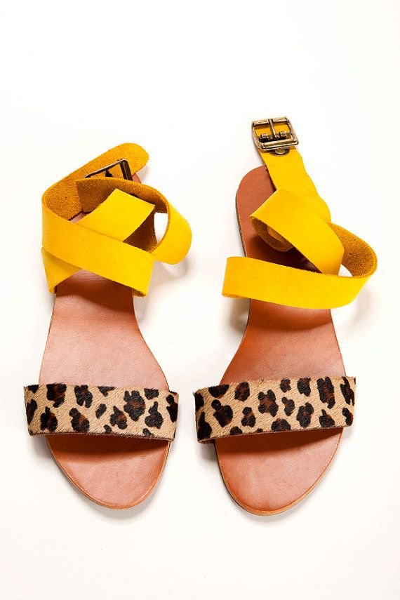Bday SALE 15% off Leather Sandals Summer yellow by