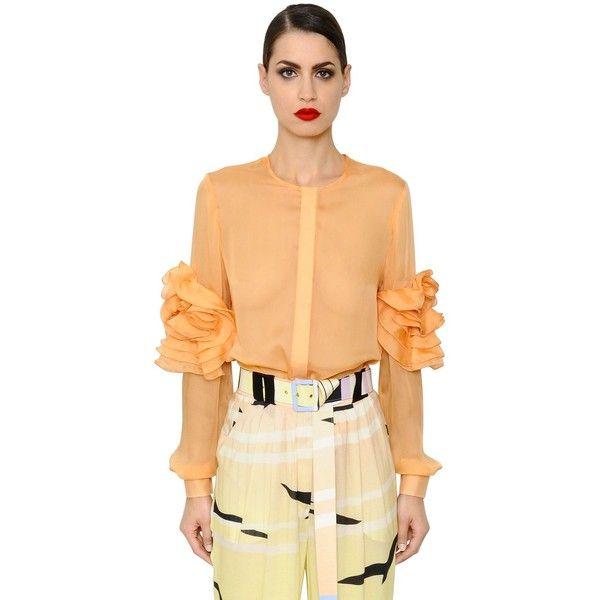 ae350a437e0ad Daniele Carlotta Women Ruffled Sheer Silk Chiffon Shirt (20.161.785 VND) ❤  liked on Polyvore featuring tops