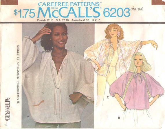 McCalls 6203 1970s Misses Blouse Jacket Pattern DOLMAN Sleeve Womens Vintage Sewing Pattern  One Size UNCUT