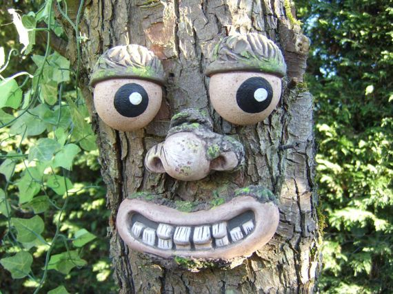 Tree Face Garden Sculpture, Statues,ornaments. Great Gifts For Garden  Ornaments. Funny Faces On Trees. Yard Art, Fence Decorations