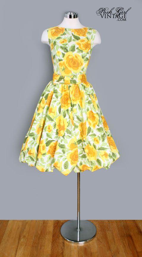 Vintage Yellow Floral Dress