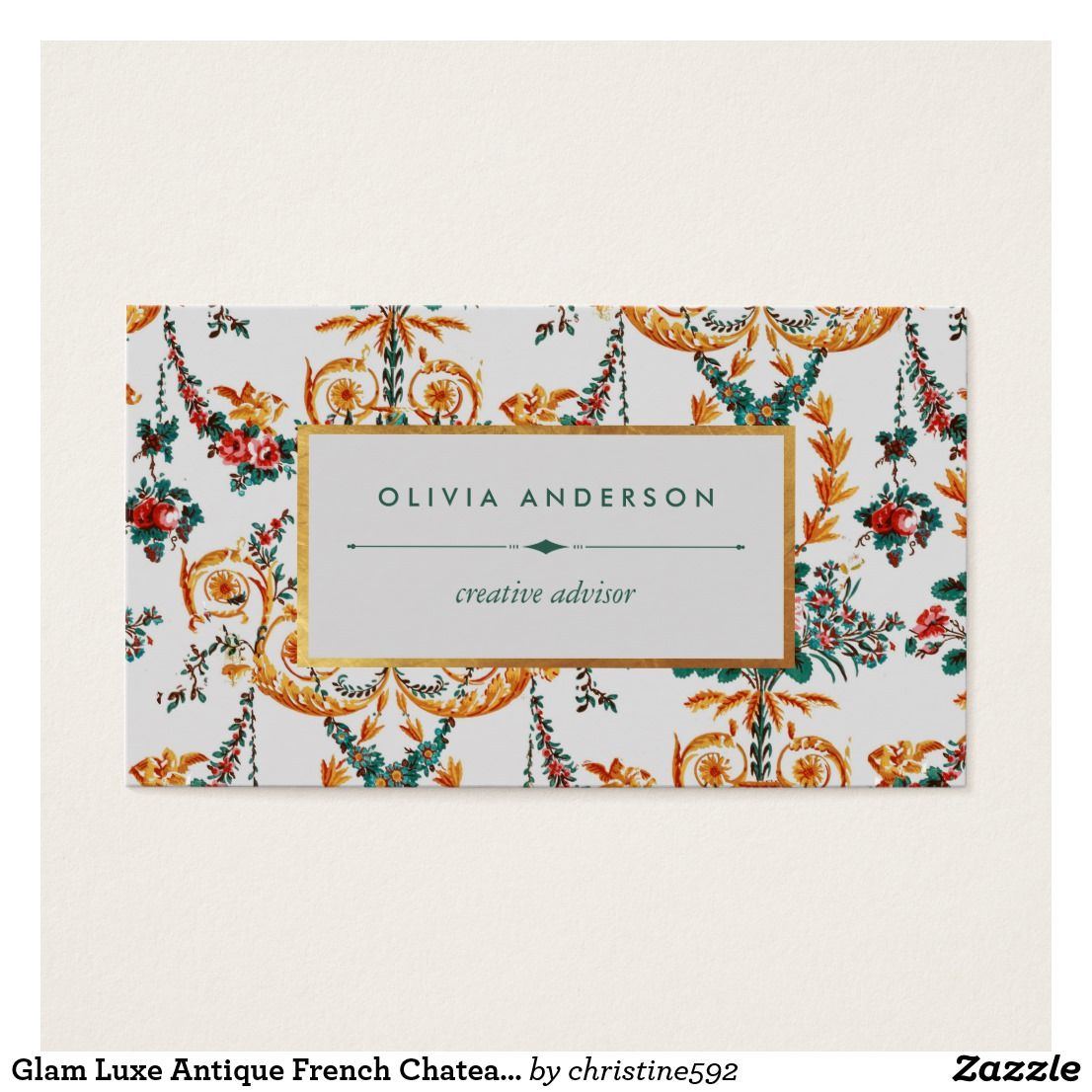 Glam Luxe Antique French Chateau Roses Wallpaper Business Card ...