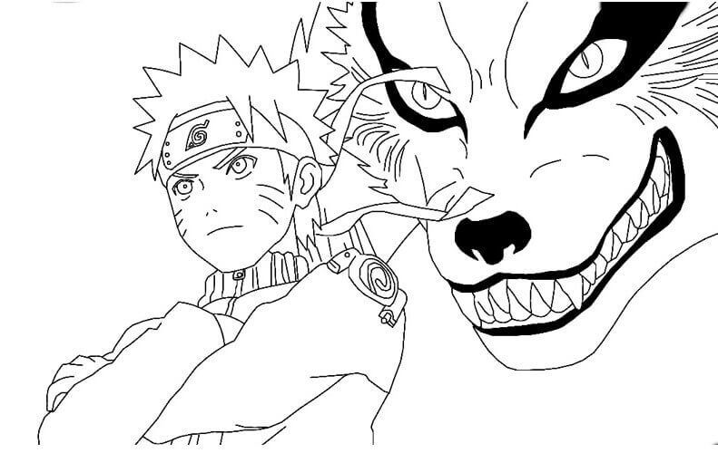 Naruto And The Nine Tailed Fox Coloring Page Naruto Drawings Fox Coloring Page Cartoon Coloring Pages