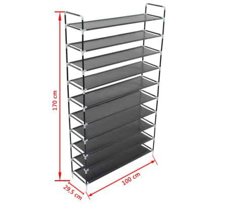 Schoenenrek 60 Cm.Vidaxl Schoenenrek Met 10 Schappen Metaal En Ongeweven Stof Zwart 6