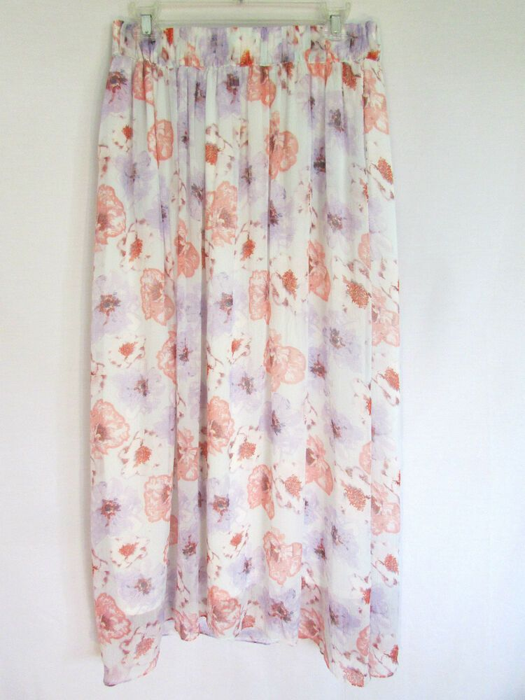 73a1c79ce ZARA SKIRT M purple pink white blue floral flowing poly crepe lined stretch  #fashion #clothing #shoes #accessories #womensclothing #skirts (ebay link)