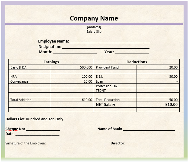 Monthly Salary Slip Format Word Template Invoice Template Word Survey Template