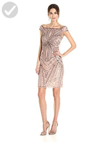 Adrianna Papell Womens Off The Shoulder Swirl Beaded Cocktail Dress