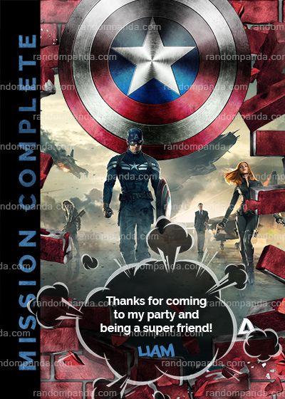 Captain America Thank You Card Captain A Party Thank You Note