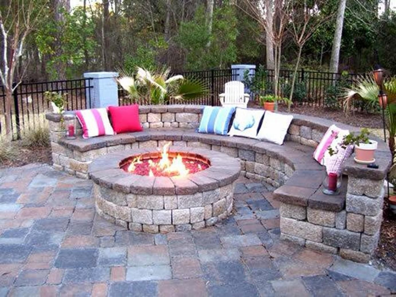 good backyard patio rustic house design with round diy brick fire pit and stone bench seat - Patio Design Ideas With Fire Pits
