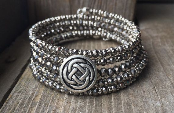 Pewter Celtic Knot Button Multi Strand Memory by McHughCreations