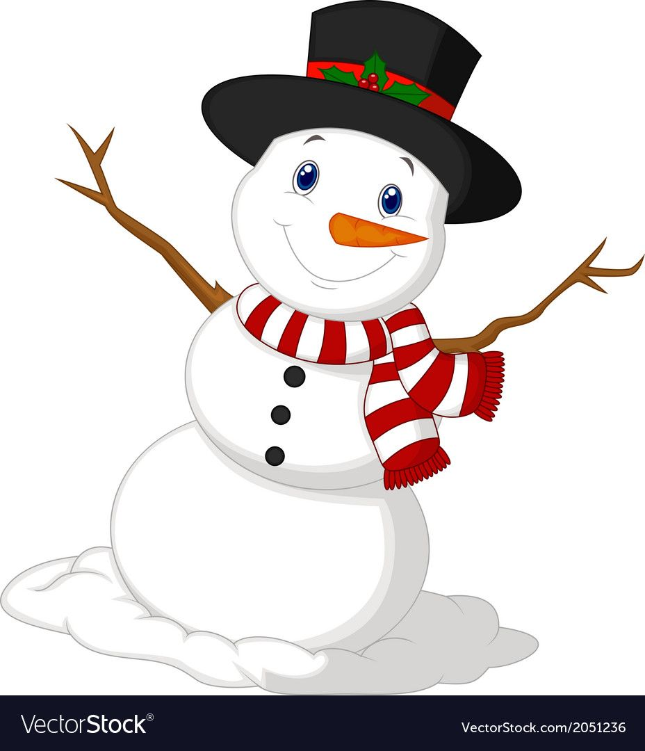 Vector Illustration Of Christmas Snowman Cartoon Wearing A Hat And Red Scarf Download A Free Preview Or High Quality Snowman Cartoon Snowman Christmas Snowman