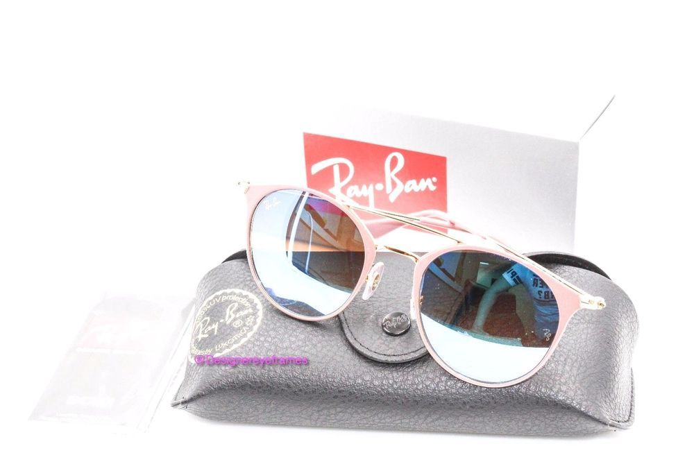 971381a8e8d311 RAY-BAN RB 3546 9011 8B Gold Purple Blue Mirror Round 49MM Sunglasses NWT  AUTH  RayBan  Round