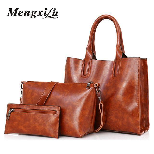 7e902df4a01 handbags #bags #loveit - 3 Pcs/Set Oil Wax Leather Women Bag Leather ...