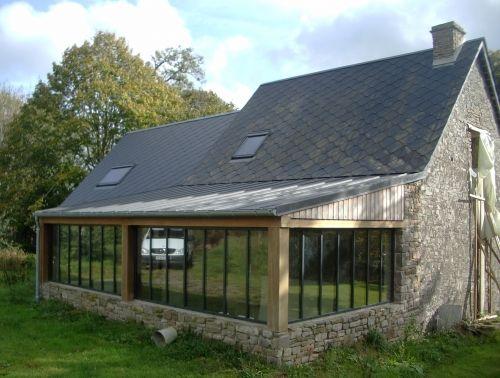 Extension poteaux poutres couverture zinc extension veranda en 2019 - Extension cuisine sur jardin ...