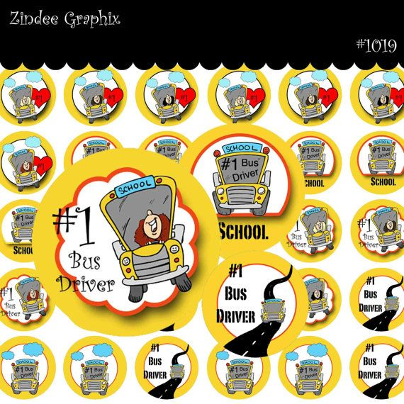 School Bus Driver No 1019 1 Inch Circles 4x6 Digital Collage Sheet For Bottle Caps Hair Bows Scrapbooking Cards Appreciation Gifts School Themes Bus Tags