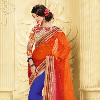 #Red, #Orange #Saree with Blouse