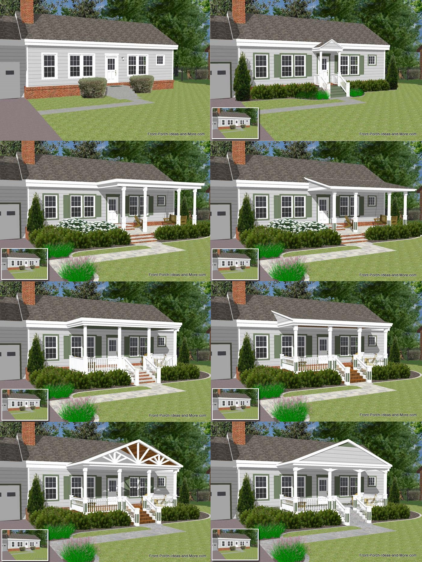 Great front porch designs illustrator on a basic ranch for Front home design ideas