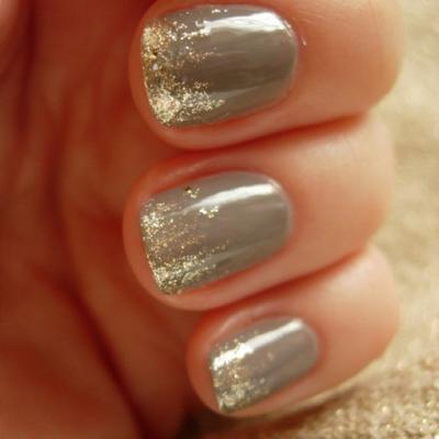 gold and grey nail polish - fun nails