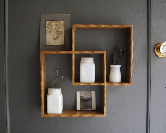 Wooden Shelves On The Brick Wall