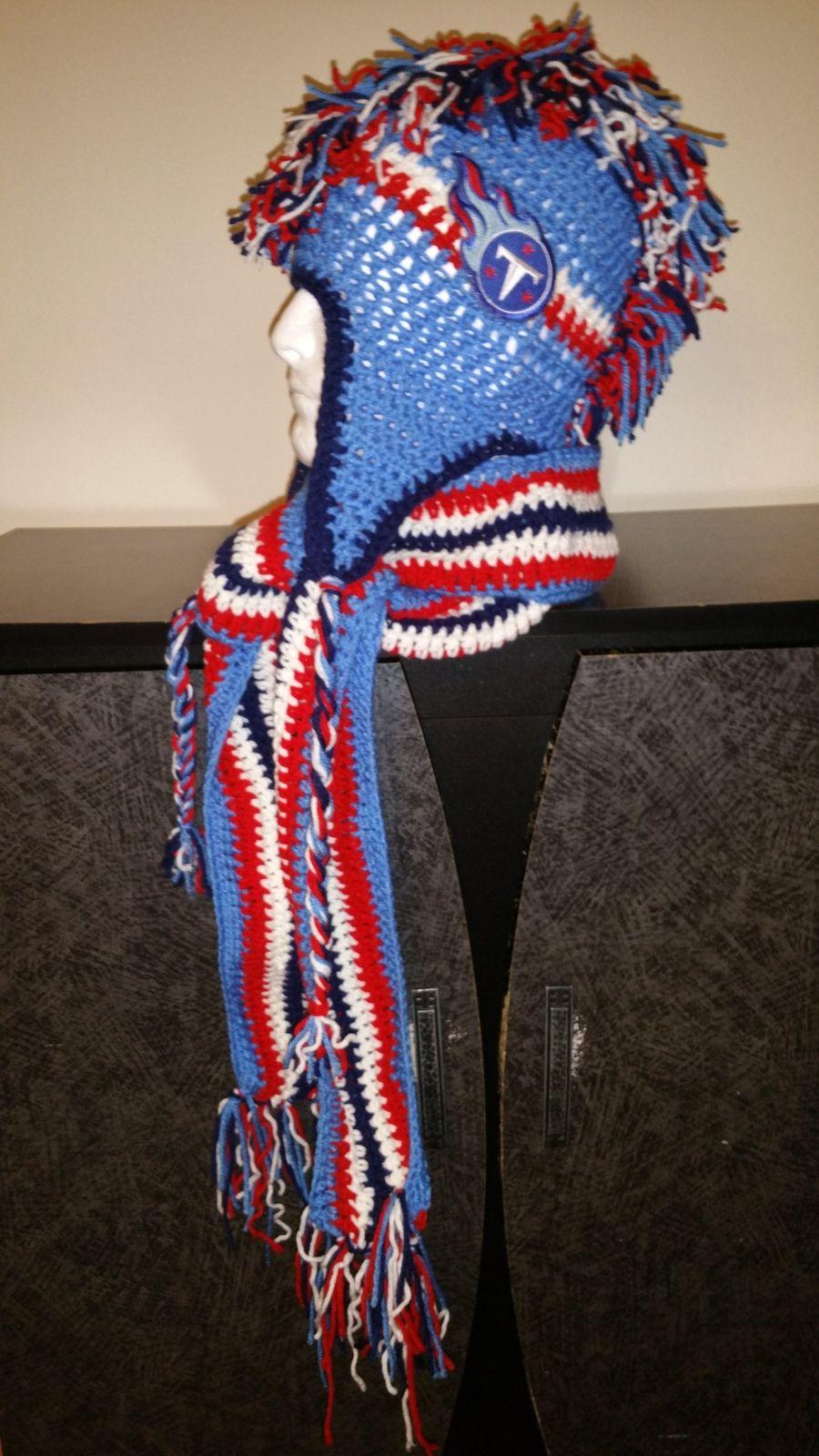$60 Tennessee Titans Inspired Handmade Crochet Mohawk Hat  http://www.bonanza.com/listings/401111119