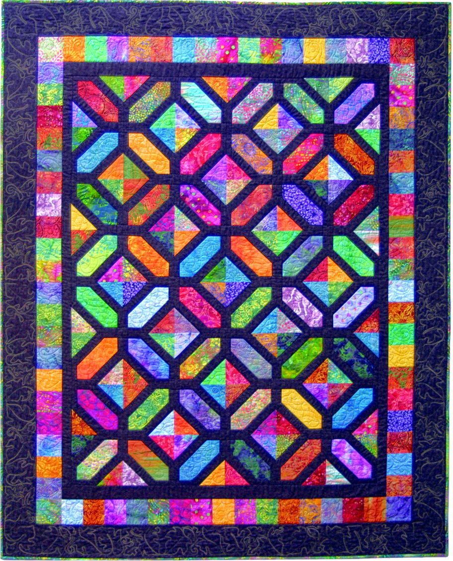 Carrefour quilt pattern by quilt design nw stained glass for Window pane quilt design