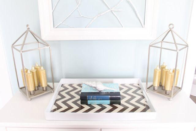 Dwellings By DeVore: Chevron Tray (fabric under glass)  @Amy Warren -- you could do something similar with your coasters!