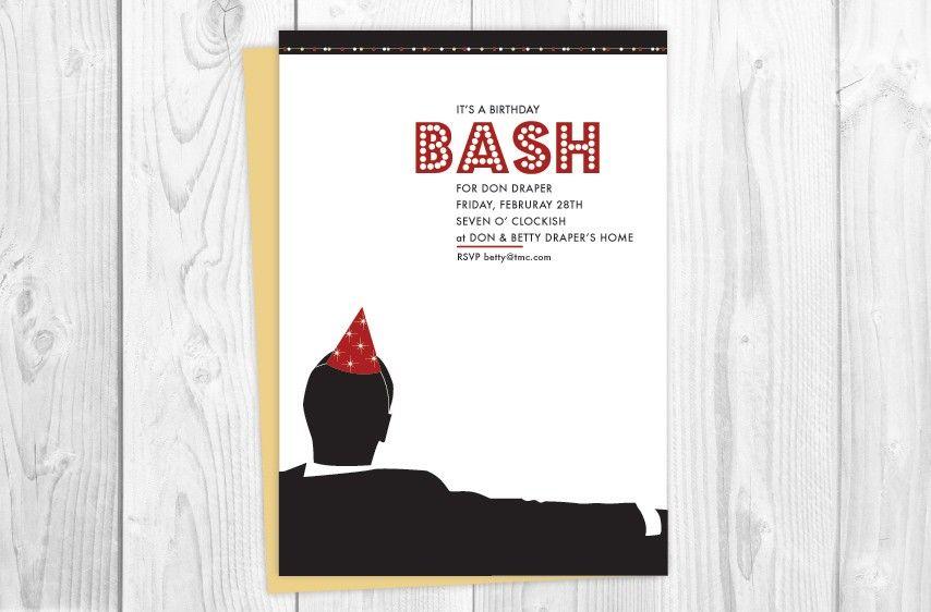 Mad Men invitations Etsy Sixties Optimism Pinterest – Mad Men Birthday Card