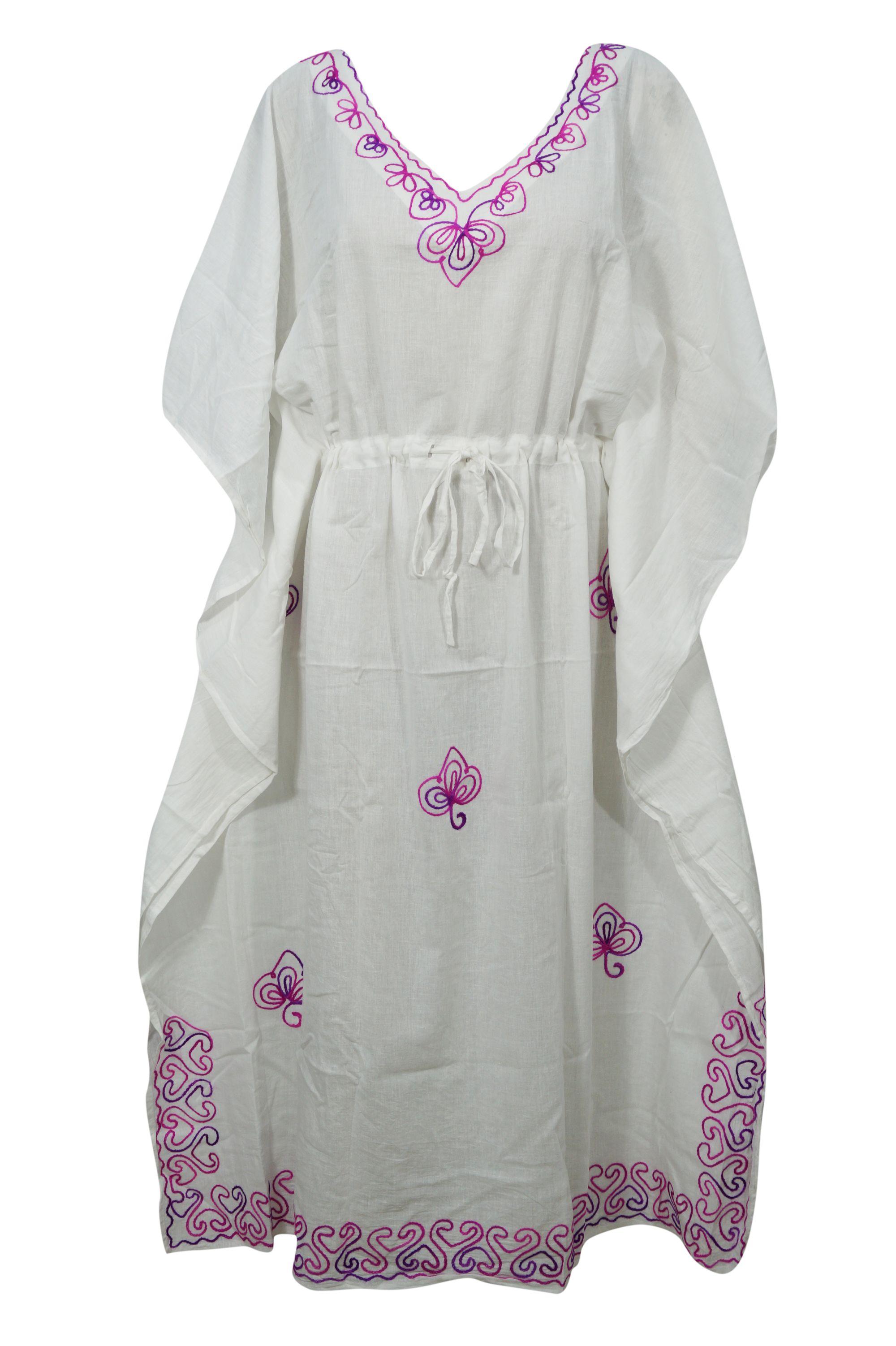 134e1a82d6 Mogul Interior - Mogul White Kimono Sleeve V Neck Cotton Beach Caftans  Bikini Cover Ups Sexy