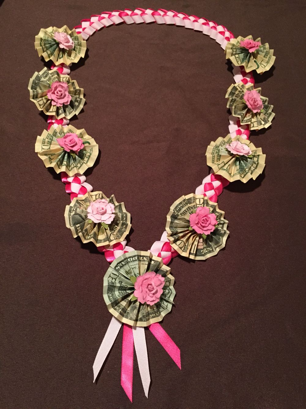 Pink White Ribbon Lei With Money And Paper Flowers Money Leis