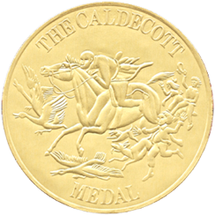 Caldecott Medal: a gold circle with a racehorse and birds