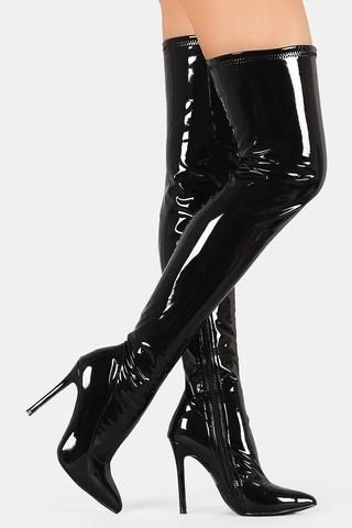 62a4d2670e0f Patent Pointy Toe Stiletto Over-The-Knee Boots | Ancient Beauty ...