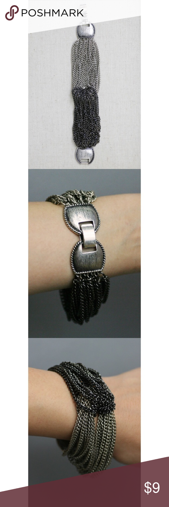 "All Chained Up Bracelet Ultra cool bracelet featuring two metal tones. Looped chain design with clasp fixture. 7"" circumference length 1.25"" depth Jewelry Bracelets"