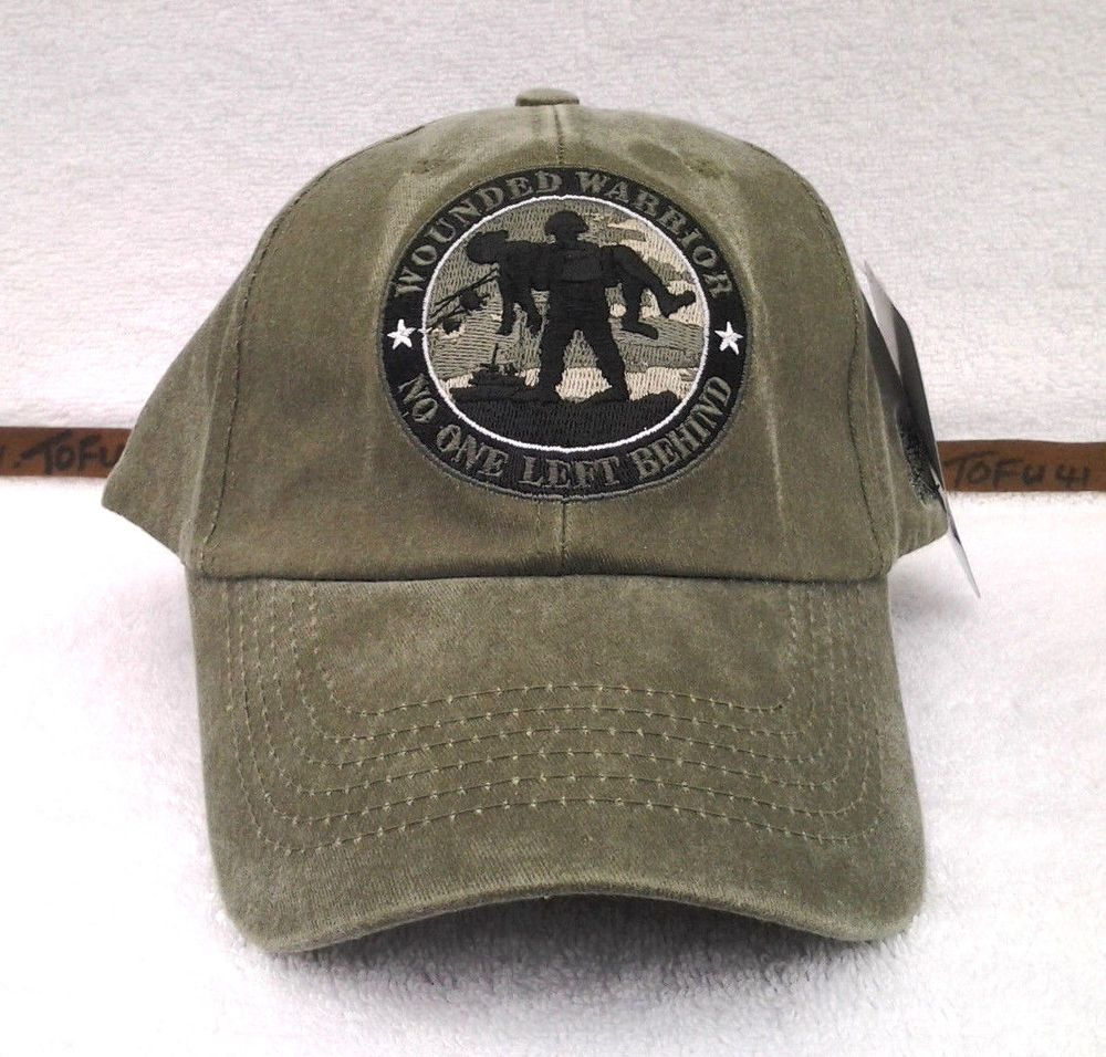 WOUNDED WARRIOR NO ONE LEFT BEHIND Military Vet STONE WASHED OD Hat 5955  MTEC  Eagle  BaseballCap e5045a85a717