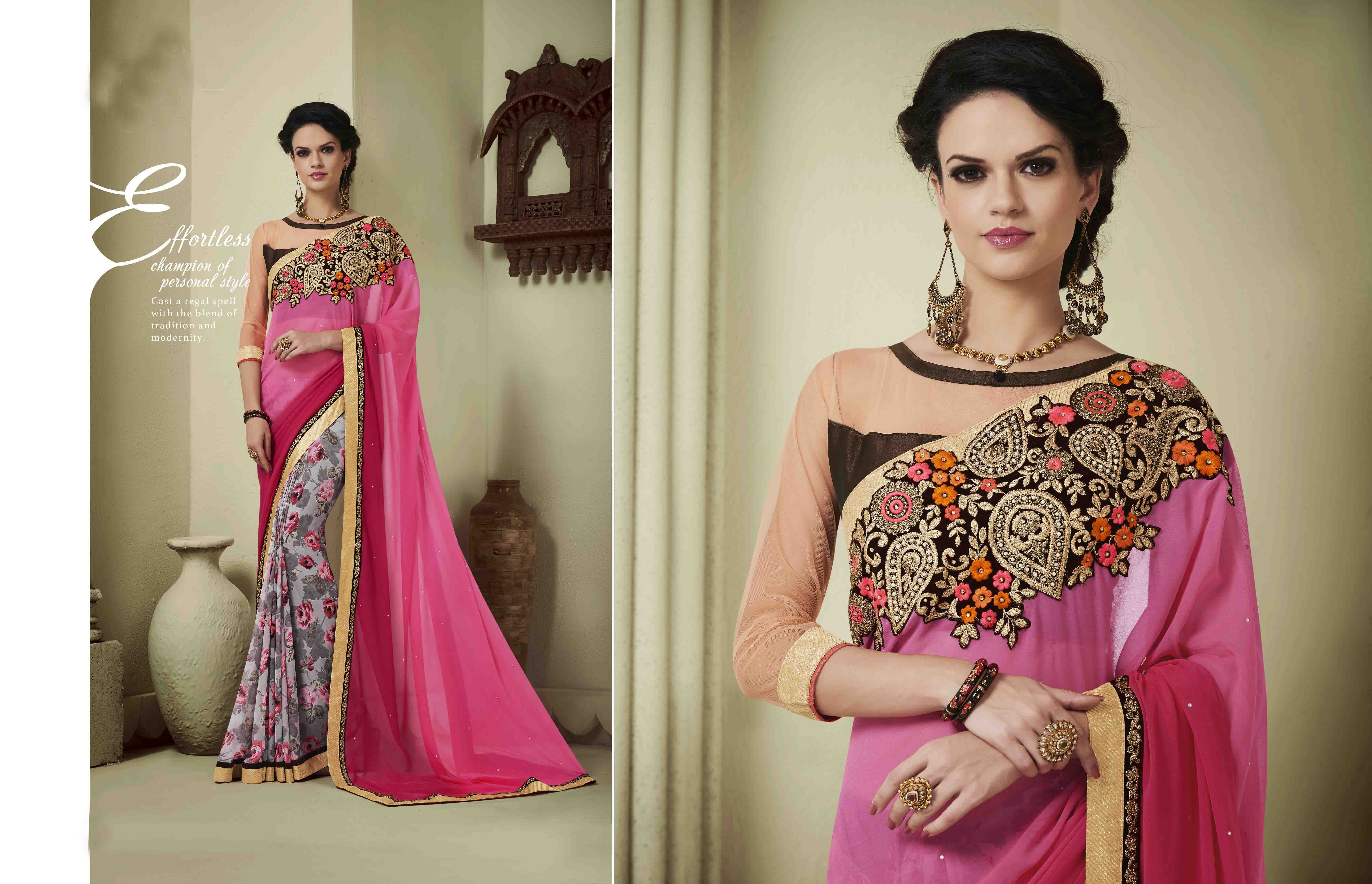http://www.thatsend.com/shopping/lp/fvp/TESG202668/i/TE265726/iu/pink-georgette-designer-saree  Pink Georgette Designer Saree Apparel Pattern Embroidered. Work Embroidery, Border Lace. Blouse Piece Yes. Occasion Ceremonial, Festive. Top Color Ivory.