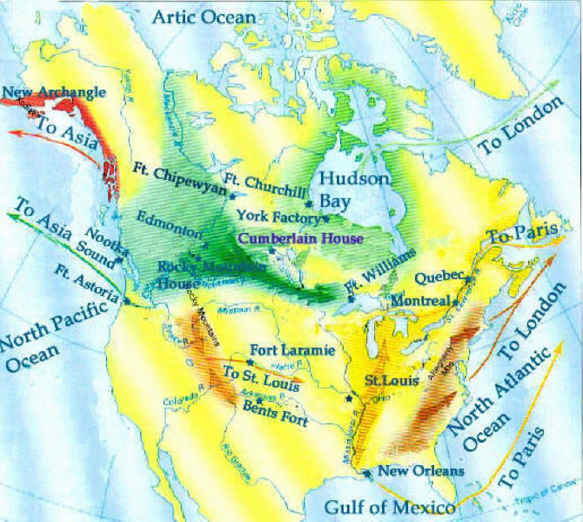 Map Of Canada Fur Trade.Fur Trade Route Map Fur Trade Mountain Man Canadian