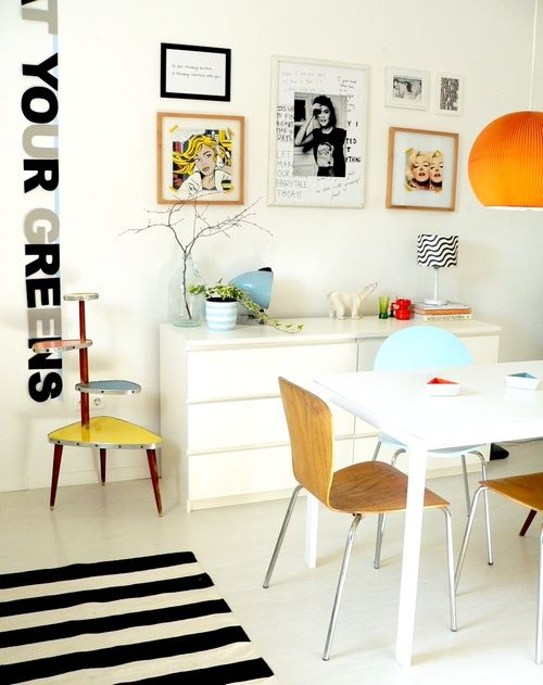 Quadros, cores, aparador e mesa brancos!