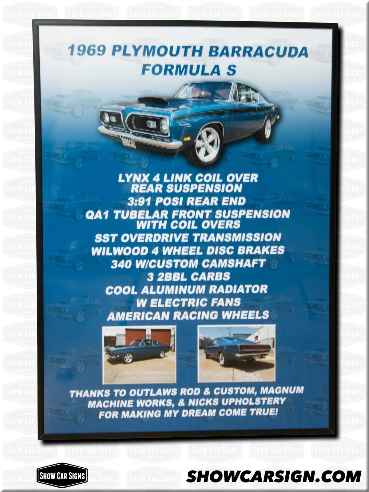 Plymouth Barracuda Car Show Board Car Show Signs Pinterest - Custom car show signs