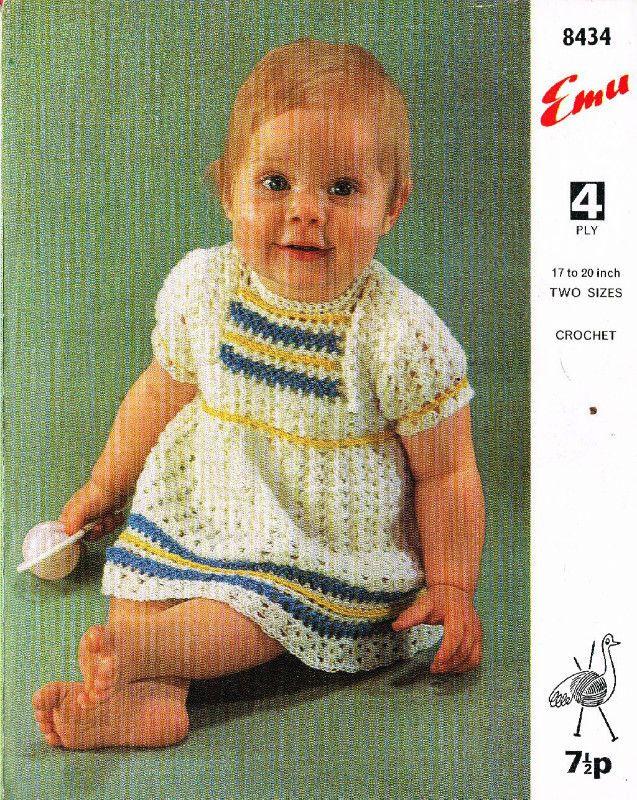 Emu 8434 matinee dress vintage baby crochet pattern 5024723915200 on eBid United Kingdom
