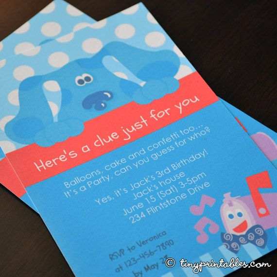 Blues Clues Birthday Party Invites 4x6 and 5x7 PDF Files DIY – Blues Clues Party Invitations