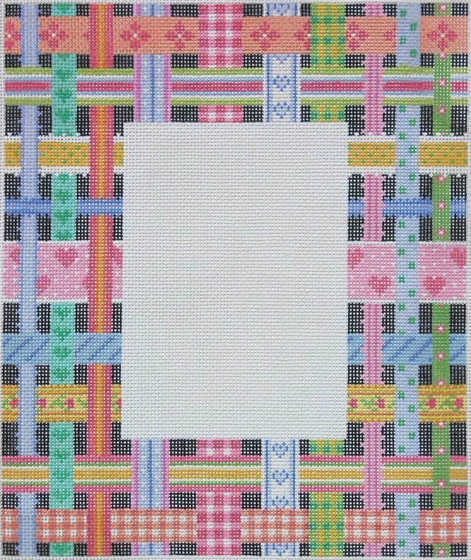 Woven ribbons frame - multi on black (also available with white bkgd.)