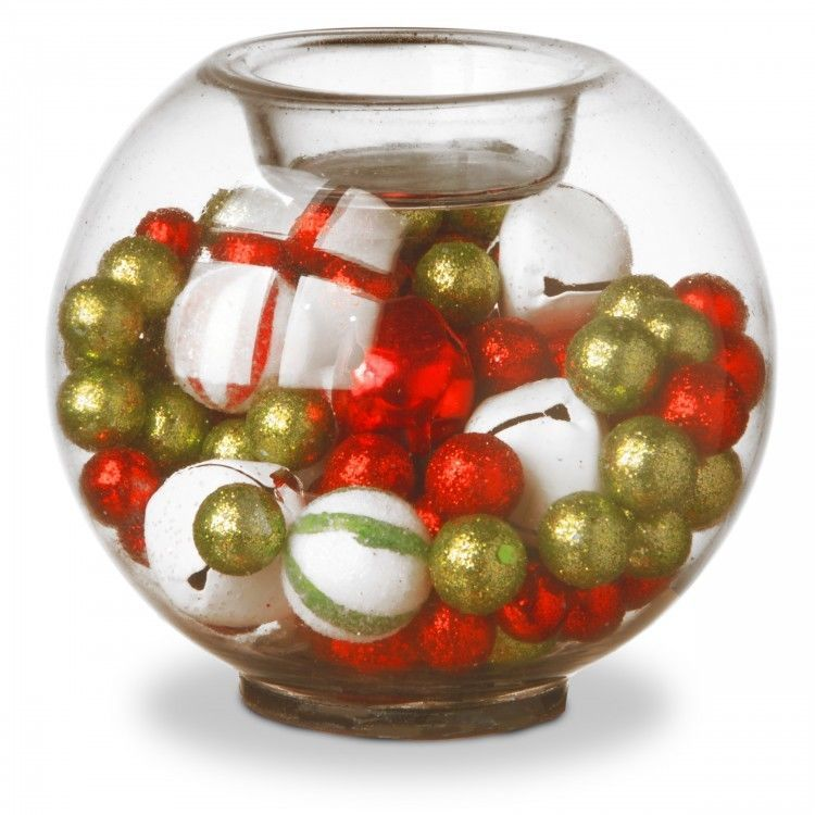 Glass Candle Holders Decorations Mix Of Classic Jingle Bells
