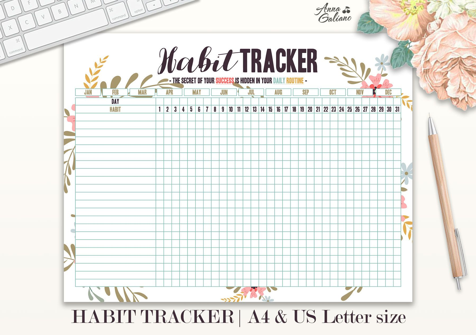 Habit Tracker Printable Daily Habits Planner Monthly Habits Bullet Journal Daily Routine
